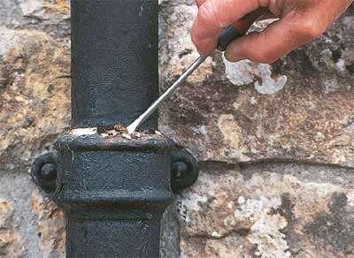 Cast iron downpipes frequently crack and corrode